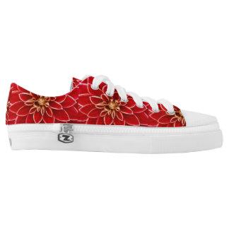 Red Dahlia flower print shoes
