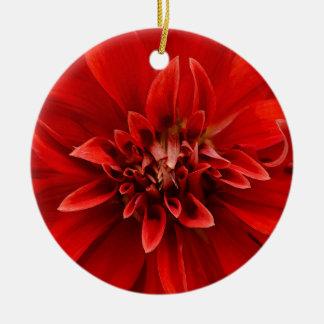 Red dahlia flower round ceramic ornament