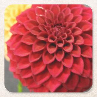 Red Dahlia Flower Square Paper Coaster