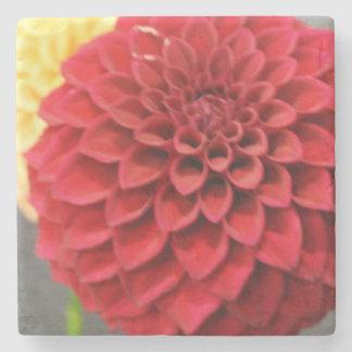 Red Dahlia Flower Stone Coaster