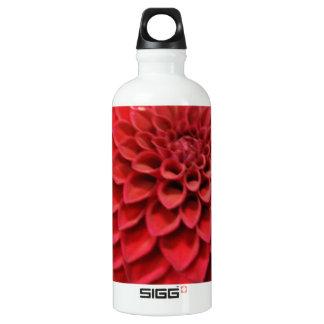 Red Dahlia Flower Water Bottle