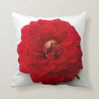 Red Dahlia Soft Petals Vintage Photography Throw Pillow