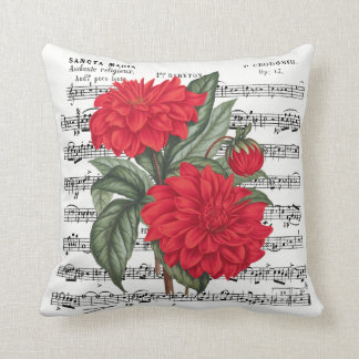 Red Dahlia With Vintage Music Overlay Throw Pillow