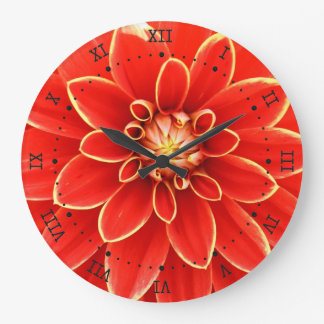 red dahlia with yellow border large clock