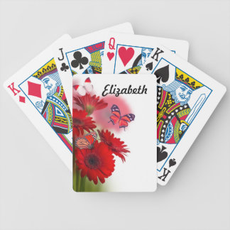 Red Daisies and Butterflies Playing Cards
