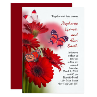 Red Daisies and Butterflies Wedding Invitation