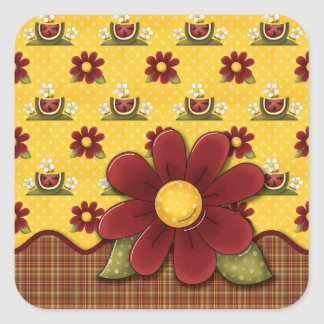 Red Daisies and Watermelons Square Sticker