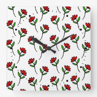 Red Daisies Clock