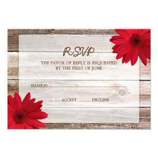 Red Daisy Barn Wood Wedding RSVP Response Card Invitations