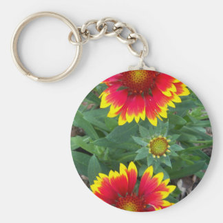 Red Daisy Basic Round Button Keychain