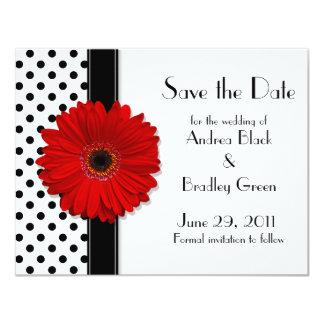 Red Daisy Black White Polka Dot Save the Date Custom Invites