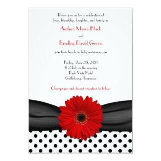 Red Daisy Black White Polka Dot Wedding Invitation