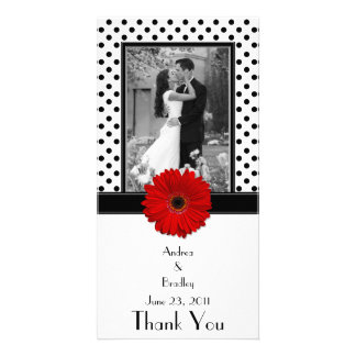 Red Daisy Black White Polka Dot Wedding Photocard Custom Photo Card