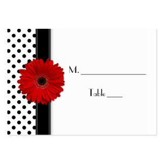 Red Daisy Black White Polka Dot Wedding Place Card Large Business Card