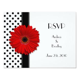 "Red Daisy Black White Polka Dot Wedding RSVP 4.25"" X 5.5"" Invitation Card"