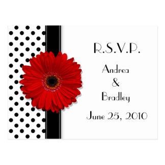 Red Daisy Black White Polka Dot Wedding RSVP Postcard