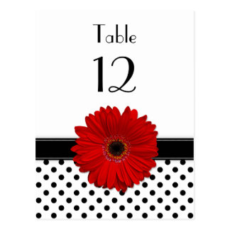 Red Daisy Black White Polka Dot Wedding Table Card Postcard