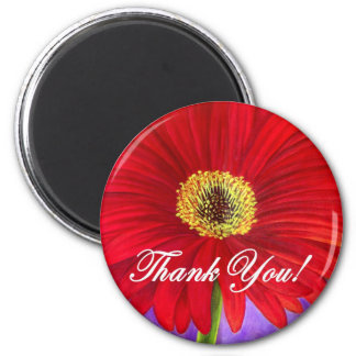 Red Daisy Flower Painting - Multi 2 Inch Round Magnet