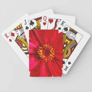 Red Daisy Flower With Yellow Pollen Abstract Playing Cards