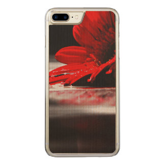 Red Daisy Gerbera Flower Carved iPhone 7 Plus Case