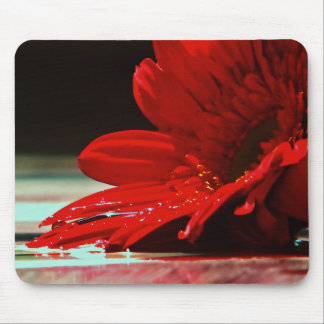 Red Daisy Gerbera Flower Mouse Pad