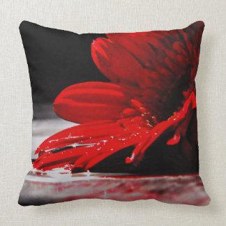 Red Daisy Gerbera Flower Pillow