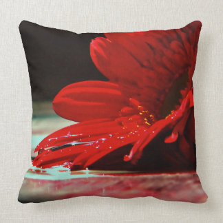 Red Daisy Gerbera Flowers Throw Pillows