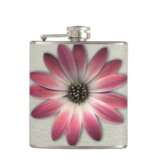 Red Daisy on Stone Leather Print Hip Flask