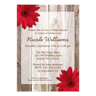Red Daisy Rustic Barn Wood Bridal Shower Custom Announcements