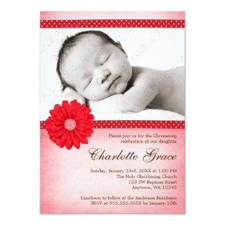 "Red Daisy Sparkle Photo Baptism Christening 5"" X 7"" Invitation Card"