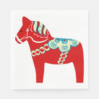 Red Dala Horse Paper Napkins