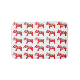 Red Dala Horses with Daisies Bath Mat