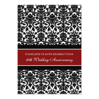 Red Damask 10th Anniversary Party Invitation