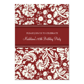 Red Damask 85th Birthday Party Invitations