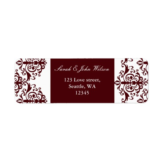 red damask address lable