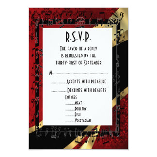 Red damask black and gold formal wedding R.S.V.P Card