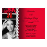 Red Damask Black Jewel Bow Birthday Photo Announcement