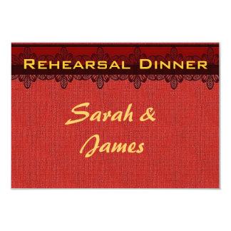 Red damask brocade Vintage wedding rehearsal Card