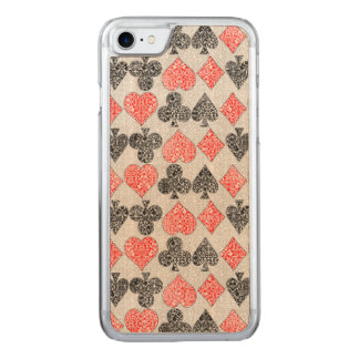 Red Damask Card Suits Heart Diamond Spade Club Carved iPhone 7 Case
