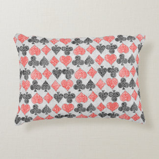 Red Damask Card Suits Heart Diamond Spade Club Decorative Pillow