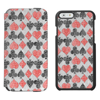 Red Damask Card Suits Heart Diamond Spade Club Incipio Watson™ iPhone 6 Wallet Case