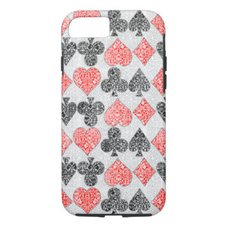 Red Damask Card Suits Heart Diamond Spade Club iPhone 7 Case
