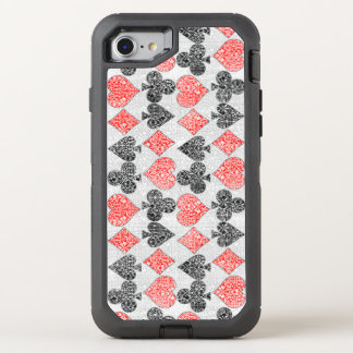 Red Damask Card Suits Heart Diamond Spade Club OtterBox Defender iPhone 8/7 Case