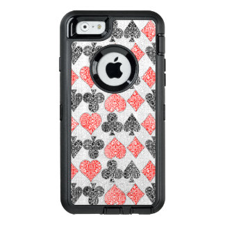 Red Damask Card Suits Heart Diamond Spade Club OtterBox Defender iPhone Case