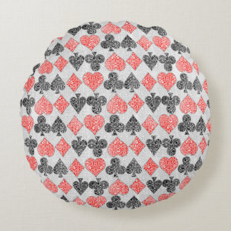 Red Damask Card Suits Heart Diamond Spade Club Round Pillow
