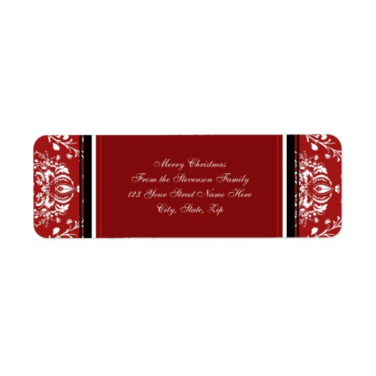 Red Damask Christmas Address Labels