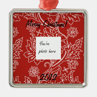 Red Damask Christmas Ornament