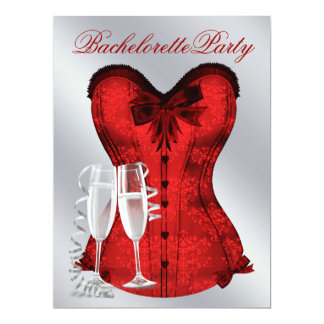 Red Damask Corset Champagne Red Bachelorette Party Card