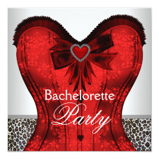 Red Damask Corset Leopard Bachelorette Party Card