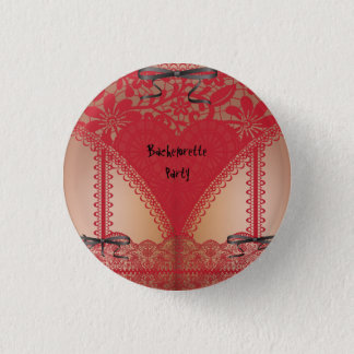Red Damask Corset Lingerie Bachelorette Party 1 Inch Round Button